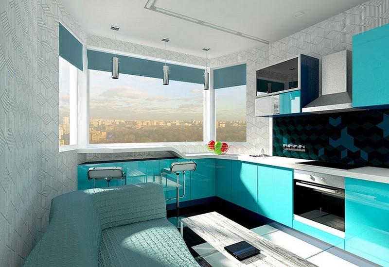 потолок на кухне с эркером фото