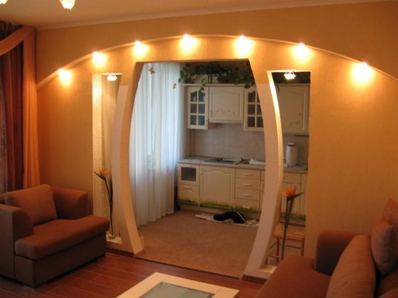 интерьер кухни с аркой фото
