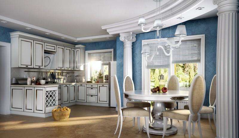 дизайн кухни в греческом стиле фото
