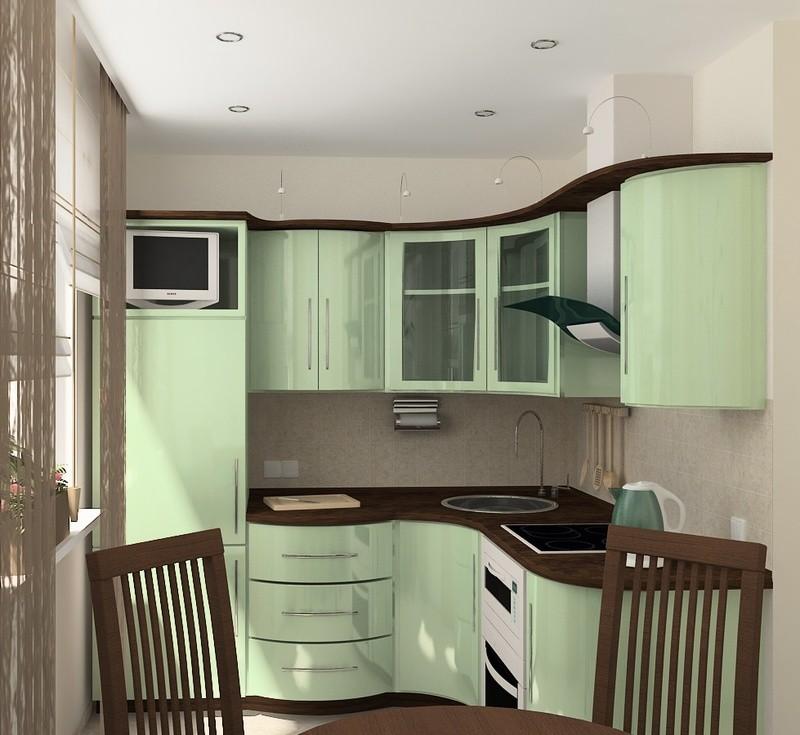 кухня в мятно шоколадном цвете фото