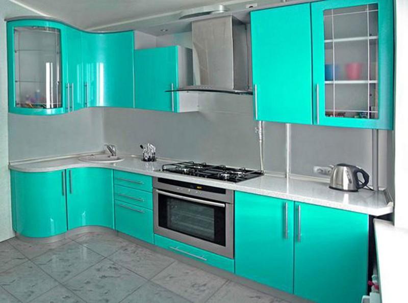 яркая мятная кухня фото