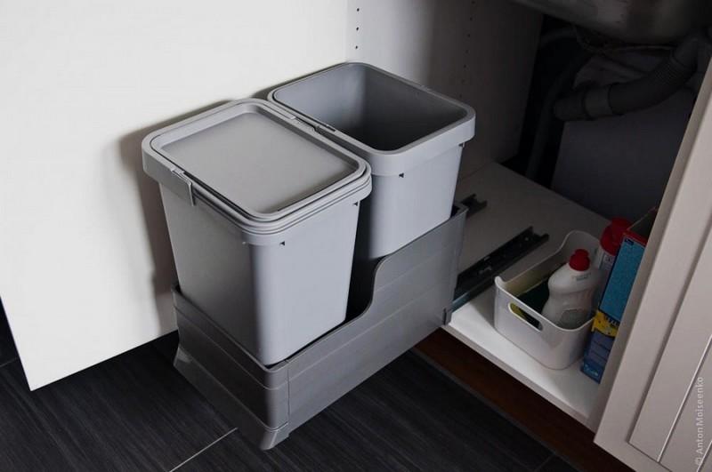 выдвижное мусорное ведро для кухни фото