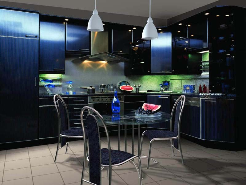 темно синяя кухня фото