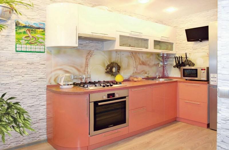 сочетание цветов в кухне персикового цвета фото