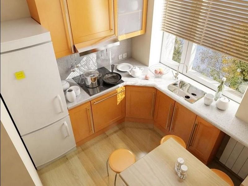 интерьер маленькой кухни с холодильником фото
