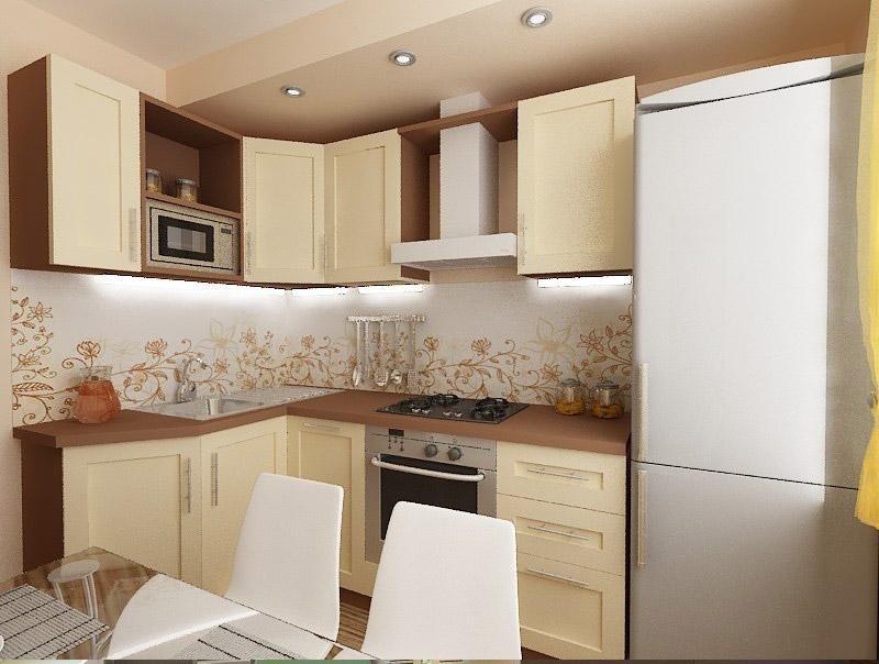 дизайн кухни с холодильником фото