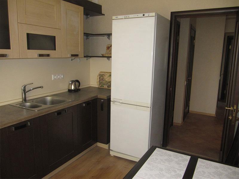 холодильник рядом с дверью на кухне фото