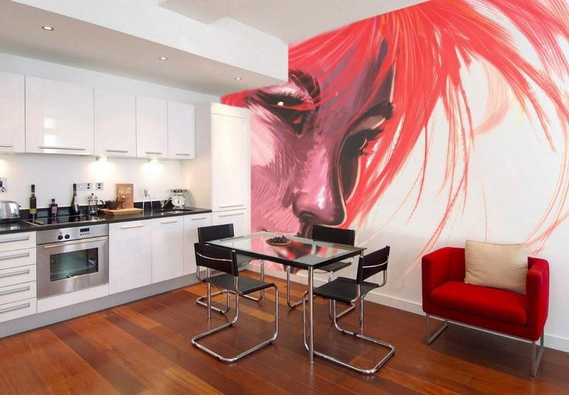 декоративная роспись стен кухни фото