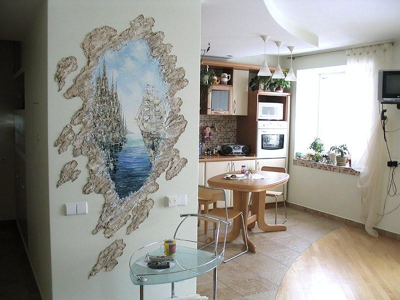 роспись стен на кухне в квартире фото