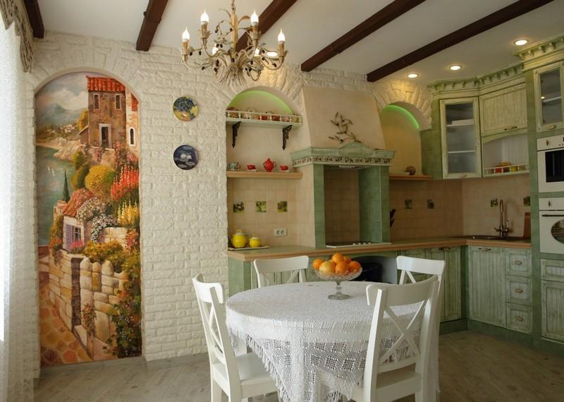 роспись стен на кухне в стиле прованс фото
