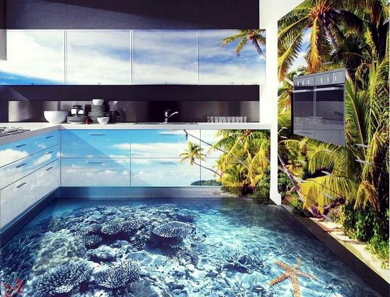 3D кухонный пол с фотопечатью фото