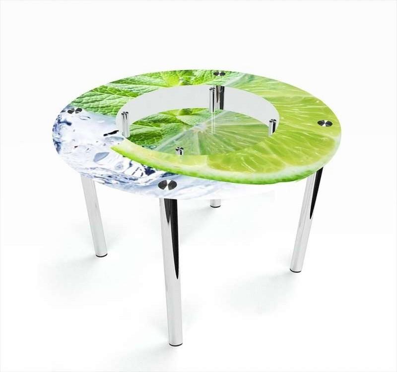 круглый кухонный стол с фотопечатью фото