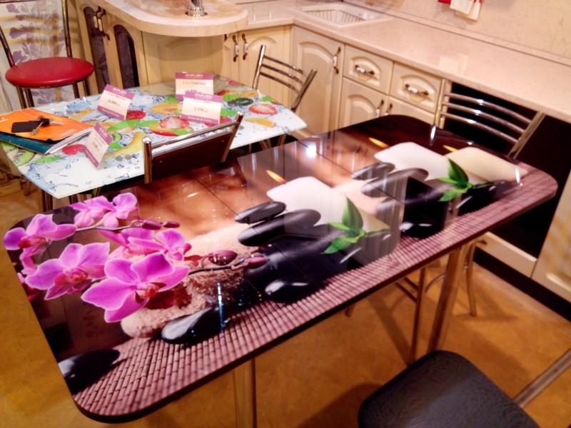 кухонный стол с фотопечатью раздвижной фото