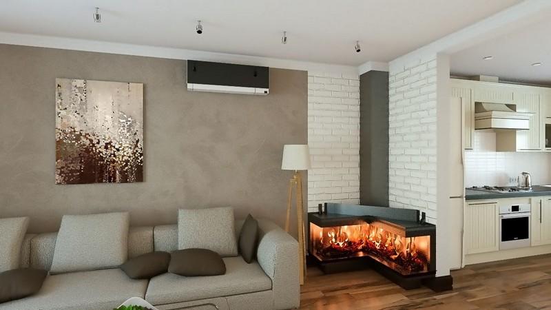 интерьер кухни гостиной с камином фото
