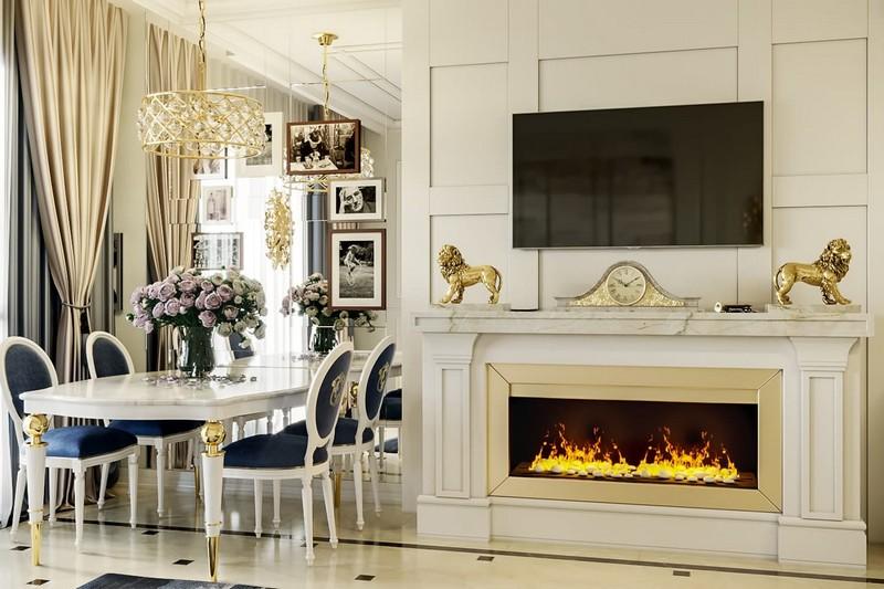кухня с камином в классическом стиле фото