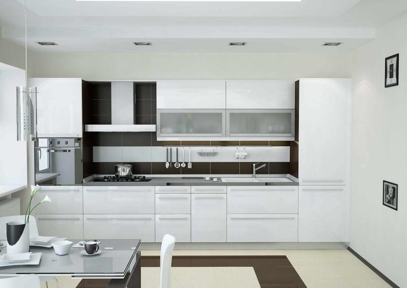 кухня белый акрил фото