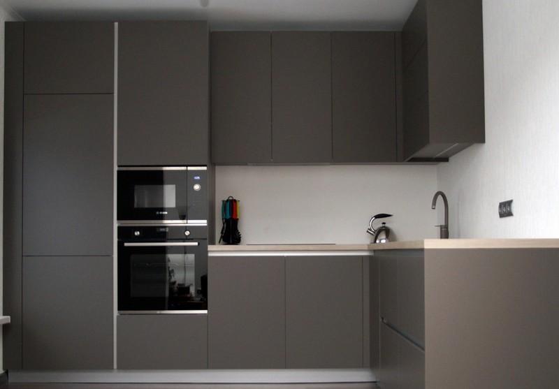 матовые акриловые фасады для кухни фото