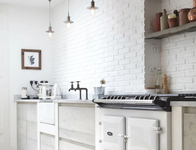 кухня в стиле минимализм с обоями под кирпич фото