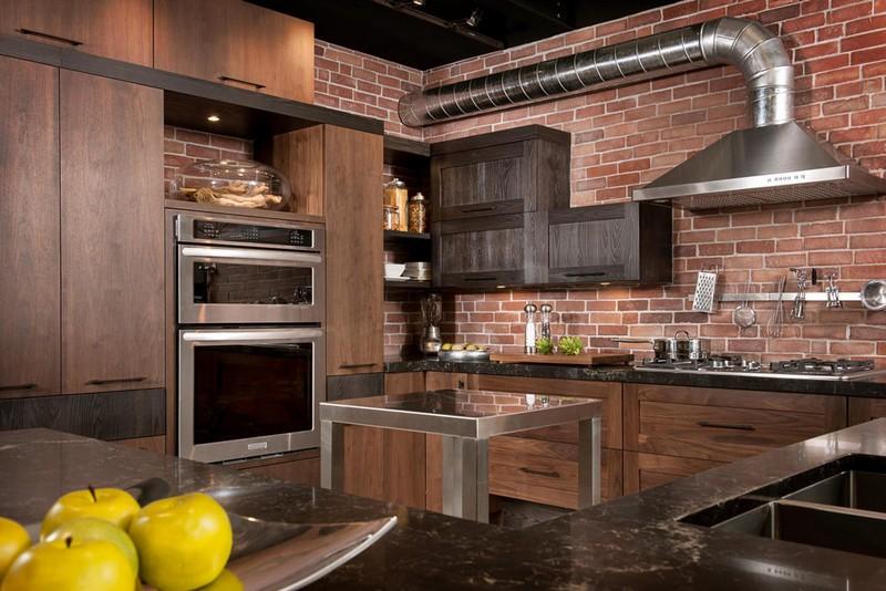 кухня с обоями под кирпич в стиле лофт фото
