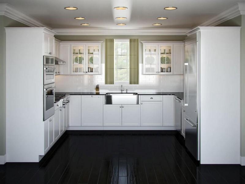 белая кухня с темным полом фото