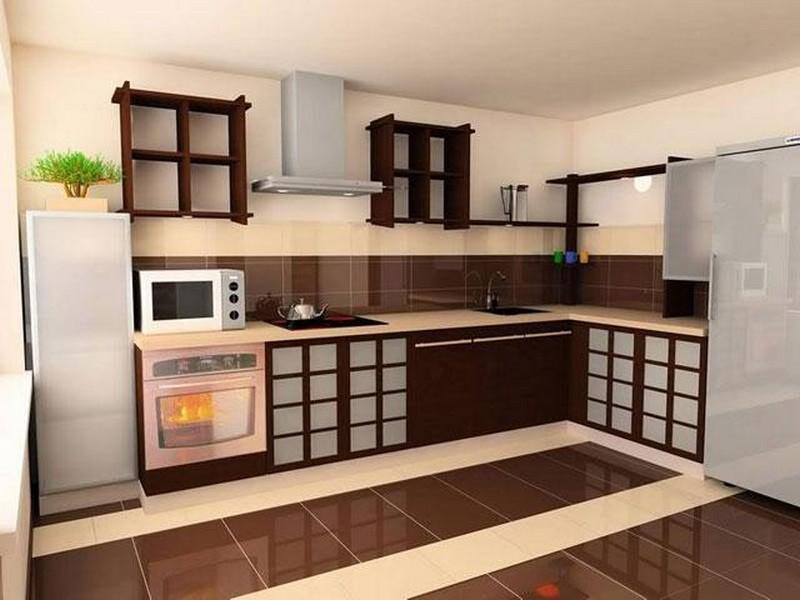 дизайн кухни с темным полом фото