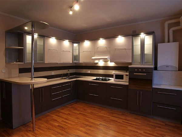 дизайн интерьера угловой кухни фото