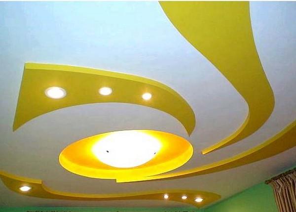 гипсокартонный потолок на кухне своими руками фото