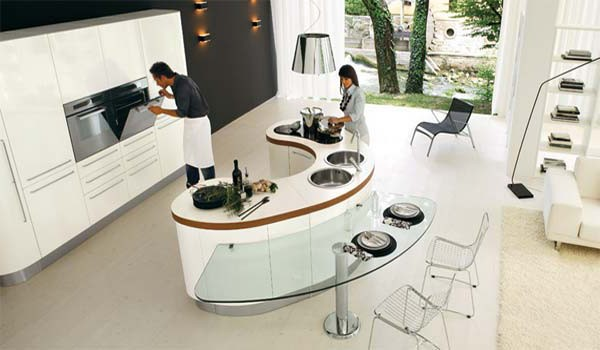 планировка кухни с барной стойкой фото