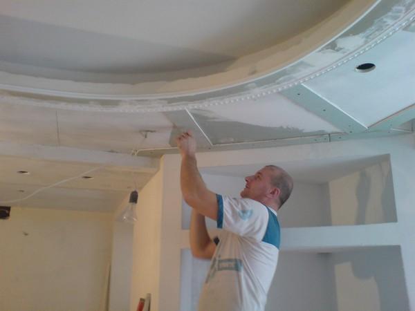 ремонт кухни потолок из гипсокартона фото