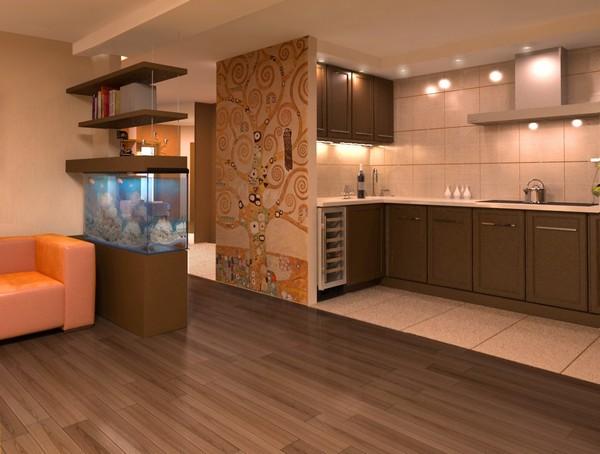 варианты зонирования гостиной и кухни фото