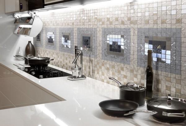 фартук для кухни из мозаики фото