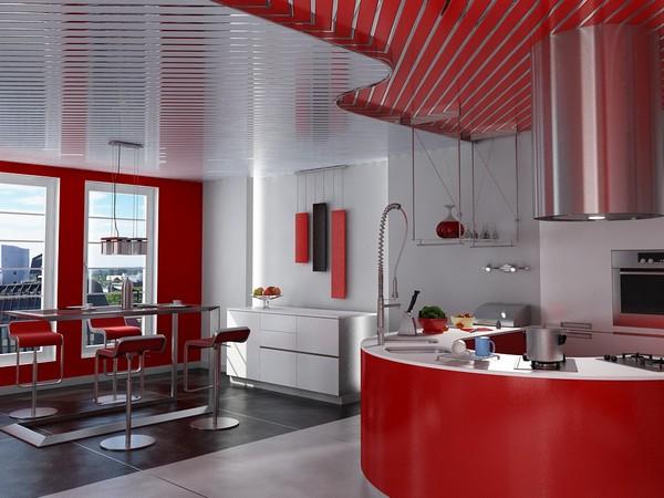 реечный потолок для кухни фото