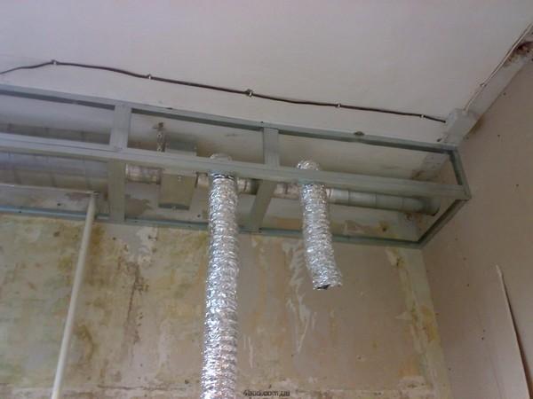 как спрятать вентиляционную трубу на кухне фото