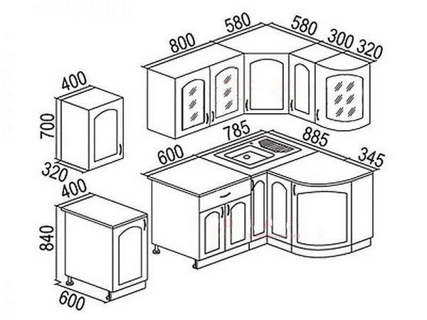 размеры навесных шкафов для кухни фото