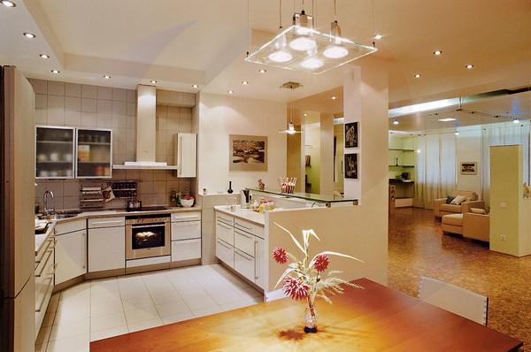 светодиодное освещение на кухне фото