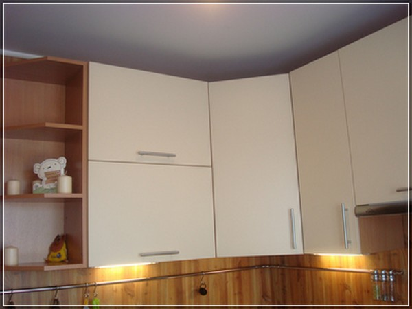 угловой навесной шкаф для кухни фото