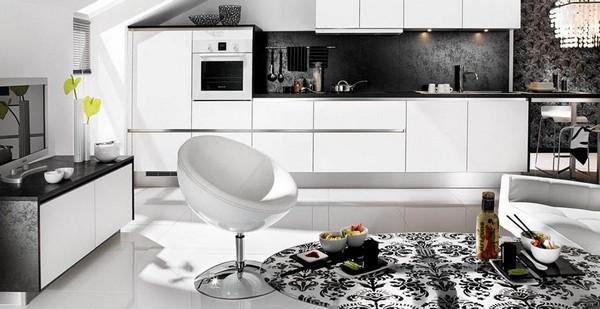 кухня в черно белом стиле фото