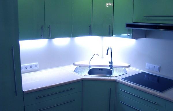 подсветка кухонного стола фото