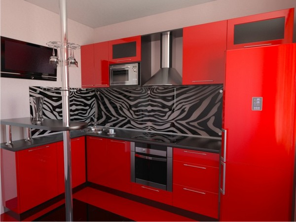 бело красно черная кухня фото