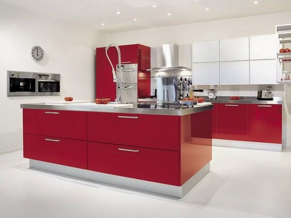 дизайн красно белой кухни фото