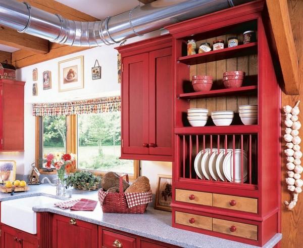 дизайн кухни в красно белом цвете фото