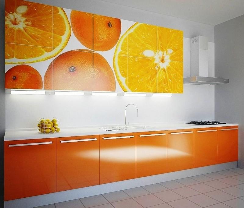 бело оранжевая кухня фото