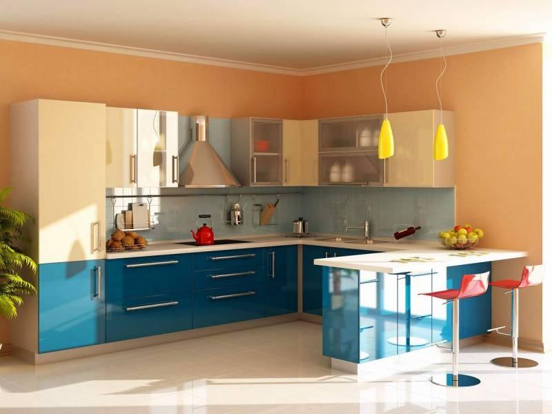 бежево голубая кухня фото