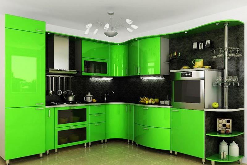 черно зеленая кухня фото