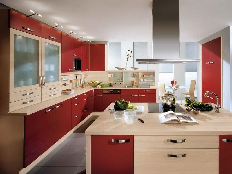 красно бежевая кухня фото