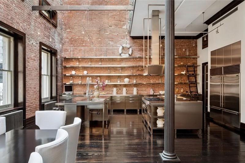 кухни в стиле лофт с кирпичом фото