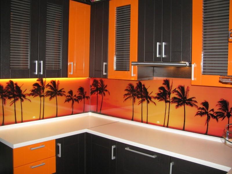 кухня оранжевая с черным фото