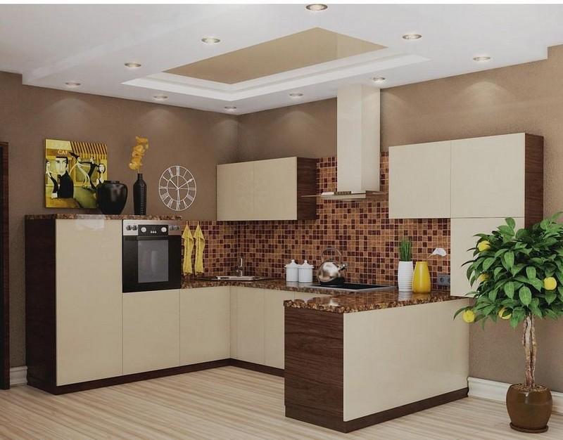 кухня в бежево коричневых тонах фото