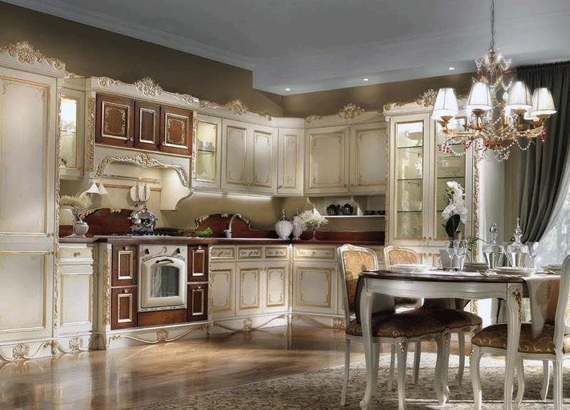 потолок в кухне в классическом стиле фото