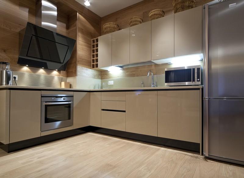 серо бежевая кухня фото